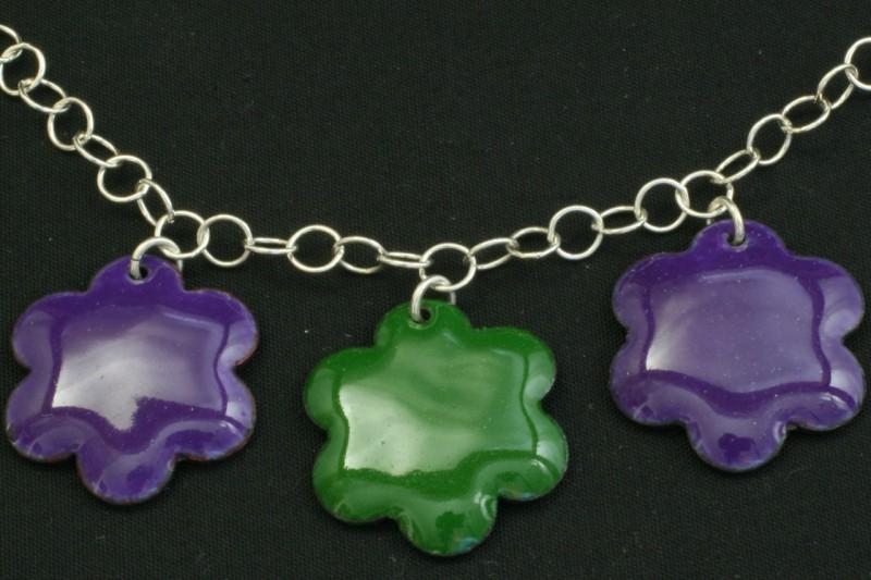 Flower enamel pendant